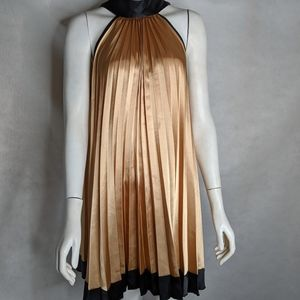 Gold Accordion Pleated Party Dress Sleeveless